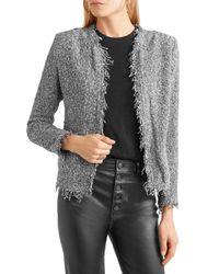 IRO Gray Shavani Frayed Cotton-blend Bouclé-tweed Jacket Anthracite