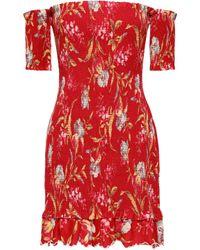 Zimmermann Off-the-shoulder Floral-print Linen And Cotton-blend Mini Dress Red