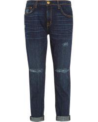 Current/Elliott Blue The Fling Distressed Low-rise Boyfriend Jeans