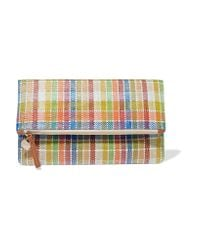 Clare V. - Multicolor Plaid Fold-over Woven Canvas Clutch - Lyst
