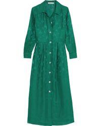 Maje Green Jacquard Midi Dress