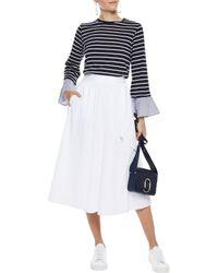 CLU Blue Woman Poplin-trimmed Striped Cotton-blend Jersey Top Navy