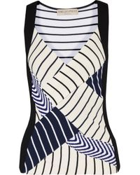 Emilio Pucci White Paneled Striped Ribbed-knit Top