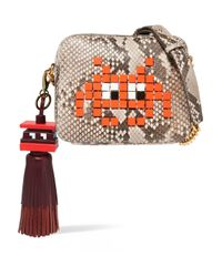 Anya Hindmarch - Red Space Invaders Leather Tassel Keychain - Lyst