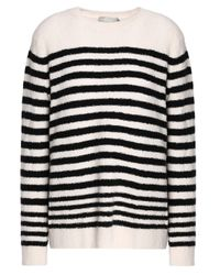 Vince - White Woman Striped Wool-blend Sweater Ivory - Lyst