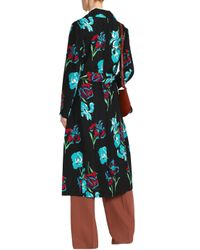Diane von Furstenberg - Black Floral-print Silk-gabardine Coat - Lyst