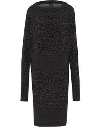 Norma Kamali Paneled Printed Stretch-crepe Dress Dark Gray