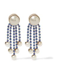 Valentino - Blue Gold-plated, Faux Pearl And Crystal Earrings - Lyst