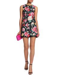 Raoul - Woman Floral-jacquard Mini Dress Black - Lyst