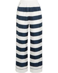 Dolce & Gabbana White Striped Silk-twill High-rise Pants