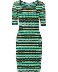 M Missoni Green Crochet-knit Jacquard Mini Dress