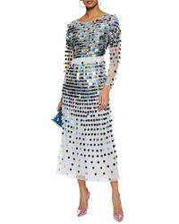 AlexaChung - Blue Woman Sequin-embellished Linen-point D'esprit Midi Dress Multicolor Size 8 - Lyst