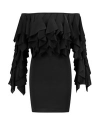Balmain Black Off-the-shoulder Ruffled Stretch-twill Mini Dress