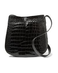 Vince - Black Croc-effect Leather Shoulder Bag - Lyst