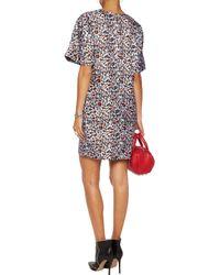 MSGM Blue Printed Silk Mini Dress