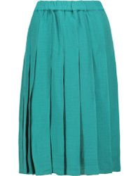 Marni - Green Gonna Pleated Linen And Cotton-blend Skirt - Lyst