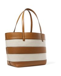 MICHAEL Michael Kors Natural Striped Leather And Canvas Tote