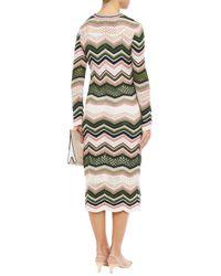 M Missoni White Zigzag Crewneck Long-sleeve Midi Dress