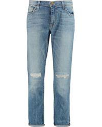 Current/Elliott - Blue The Fling Distressed Mid-rise Boyfriend Jeans - Lyst