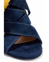 Chloé Blue Chloé Nellie Bow-embellished Suede Mules Navy