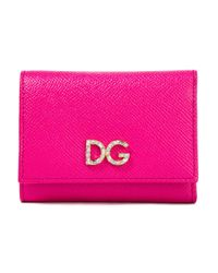 Dolce & Gabbana Pink Textured-leather Wallet Fuchsia