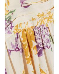 byTiMo White Gathered Floral-print Crepe De Chine Midi Dress Ivory