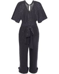 Brunello Cucinelli Gray Cropped Embellished Linen And Silk-blend Jumpsuit Charcoal