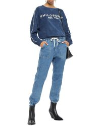 Philosophy Di Lorenzo Serafini Blue Embroidered Cotton-blend Terry Sweatshirt Navy