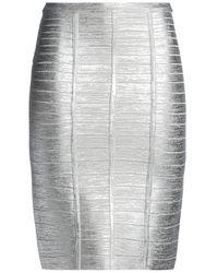 Hervé Léger Hervé Léger Metallic Coated Bandage Skirt Silver