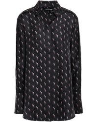 Victoria, Victoria Beckham Printed Silk-twill Shirt Black