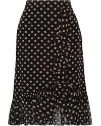 Tory Burch Indie Ruffle-trimmed Printed Silk-georgette Skirt Black