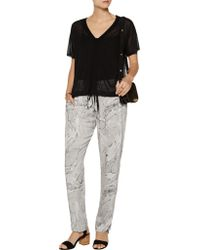 Enza Costa - Gray Printed Voile Tapered Pants - Lyst