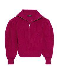 Isabel Marant Multicolor Kuma Pointelle-trimmed Wool Sweater Magenta