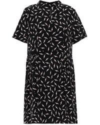 Markus Lupfer Lizzie Printed Silk Crepe De Chine Mini Dress Black
