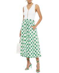 Zimmermann Gathered Polka-dot Linen Midi Skirt White