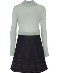 RED Valentino - Paneled Mohair-blend And Flared Denim Mini Dress Sky Blue - Lyst