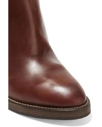 Brunello Cucinelli - Brown Leather Knee Boots - Lyst