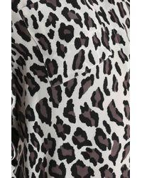 MSGM White Leopard-print Silk-georgette Blouse