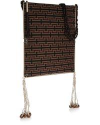 Elizabeth and James   Black Tassel-trimmed Croc-effect Leather And Jacquard Shoulder Bag   Lyst