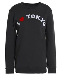 Zoe Karssen Flocked Mélange Cotton-blend Terry Sweatshirt Black