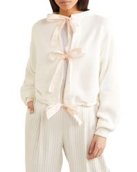 ADEAM Tie-detailed Cropped Cotton-blend Sweater White