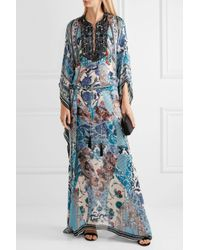 Roberto Cavalli - Blue Lace-up Bead-embellished Printed Silk-georgette Maxi Dress - Lyst