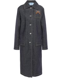 Prada Blue Appliquéd Denim Trench Coat Dark Denim