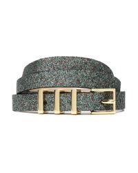 Maje Green Glittered Leather Belt