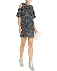 Ganni Blue Greenville Cold-shoulder Ruffled Jacquard Mini Dress