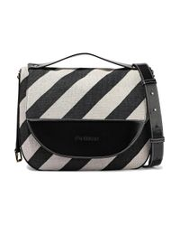 J.W. Anderson Moon Large Striped Canvas, Glossed-leather And Suede Shoulder Bag Black
