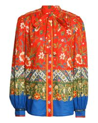 Tory Burch Pussy-bow Printed Cotton Blouse Bright Orange
