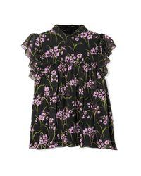 Giambattista Valli Ruffled Floral-print Silk-chiffon Top Black