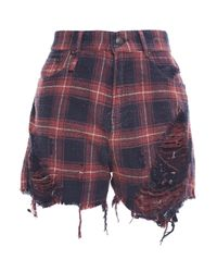 R13 Blue Distressed Checked Cotton-flannel Shorts Navy