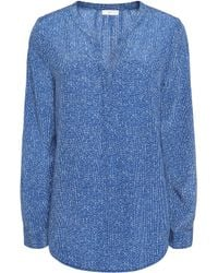 Joie Blue Peterson Printed Washed-silk Top